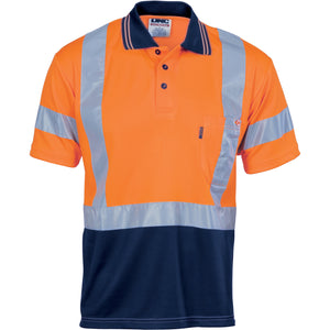 3912 - Hi Vis D/N Cool Breathe Polo Shirt With Cross Back R/Tape - Short Sleeve