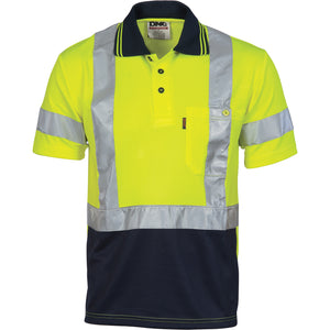Hivis D/N Cool Breathe Polo Shirt With Cross Back R/Tape - Short Sleeve