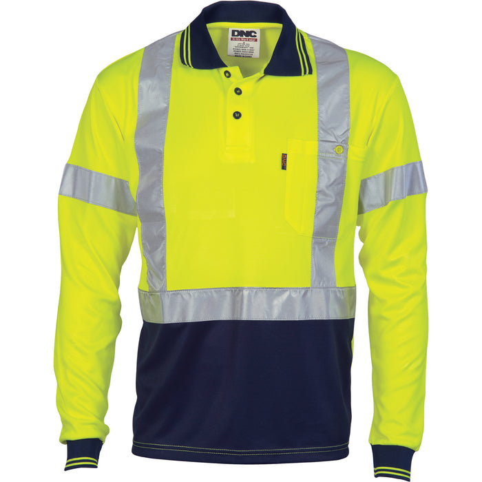 Hivis D/N Cool-Breathe Polo Shirt With Cross Back R/Tape - Long Sleeve