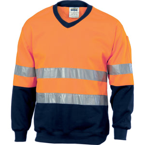 3921 - Hi Vis Two Tone Sweatshirt (Sloppy Joe) With Generic R/Tape V-Neck