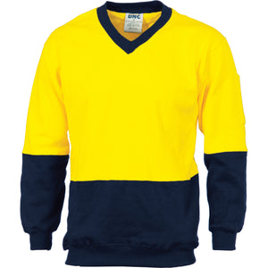 3922 - Hi Vis Two Tone Cotton Fleecy Sweat Shirt V-Neck