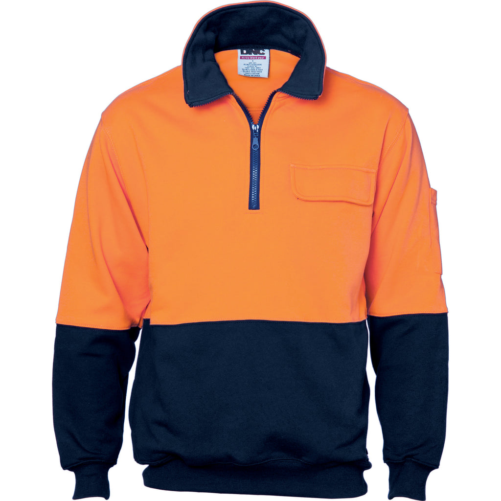 3923 - Hi Vis Two Tone 1/2 Zip Cotton Fleecy Windcheater