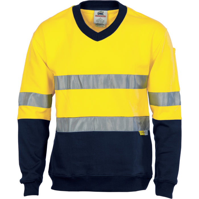 3924 - Hi Vis Two Tone Cotton Fleecy Sweat Shirt V-Neck with 3M R/Tape