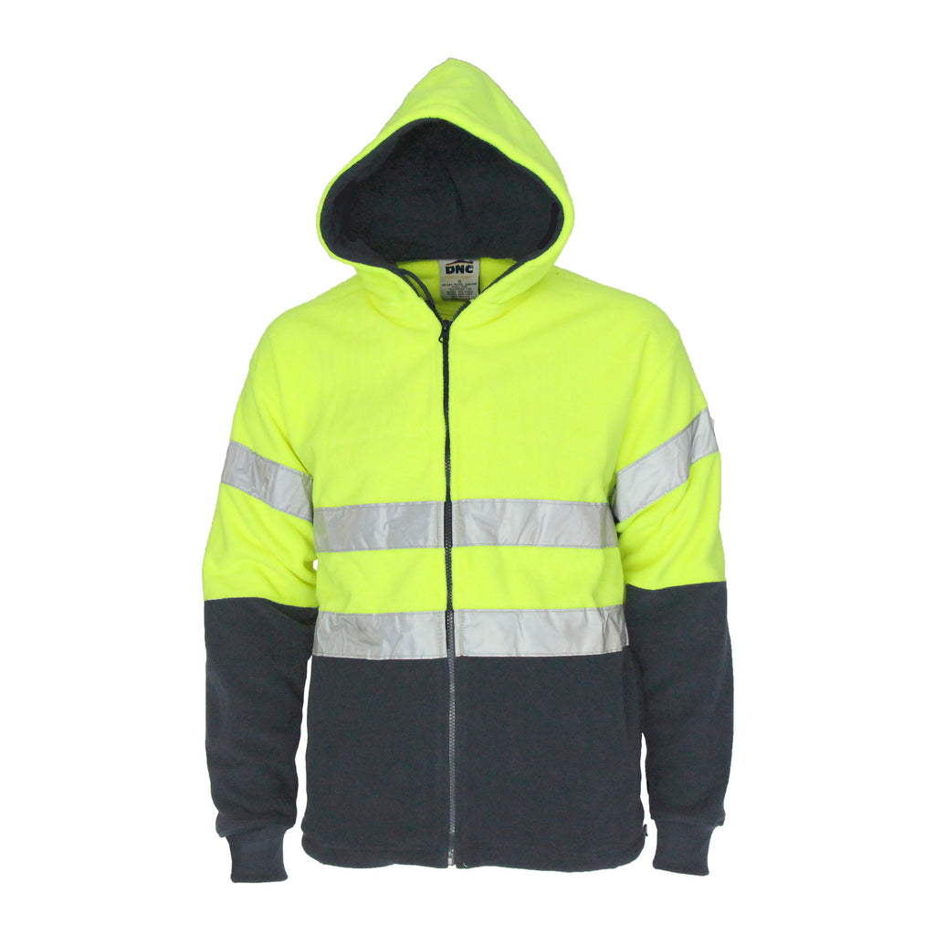 3926 - Hi Vis full zip polar fleece hoodie with CSR R/tape