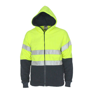 Hivis full zip polar fleece hoodie with CSR R/tape
