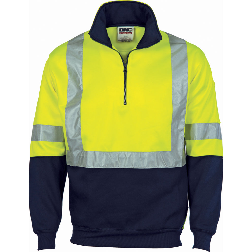 3929 - Hi Vis Cross Back D/N Two Tone 1/2 Zip Fleecy Sweat Shirt