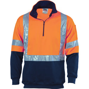 3930 - Hi Vis 1/2 Zip Fleecy with 'X' Back & additional Tape on Tail