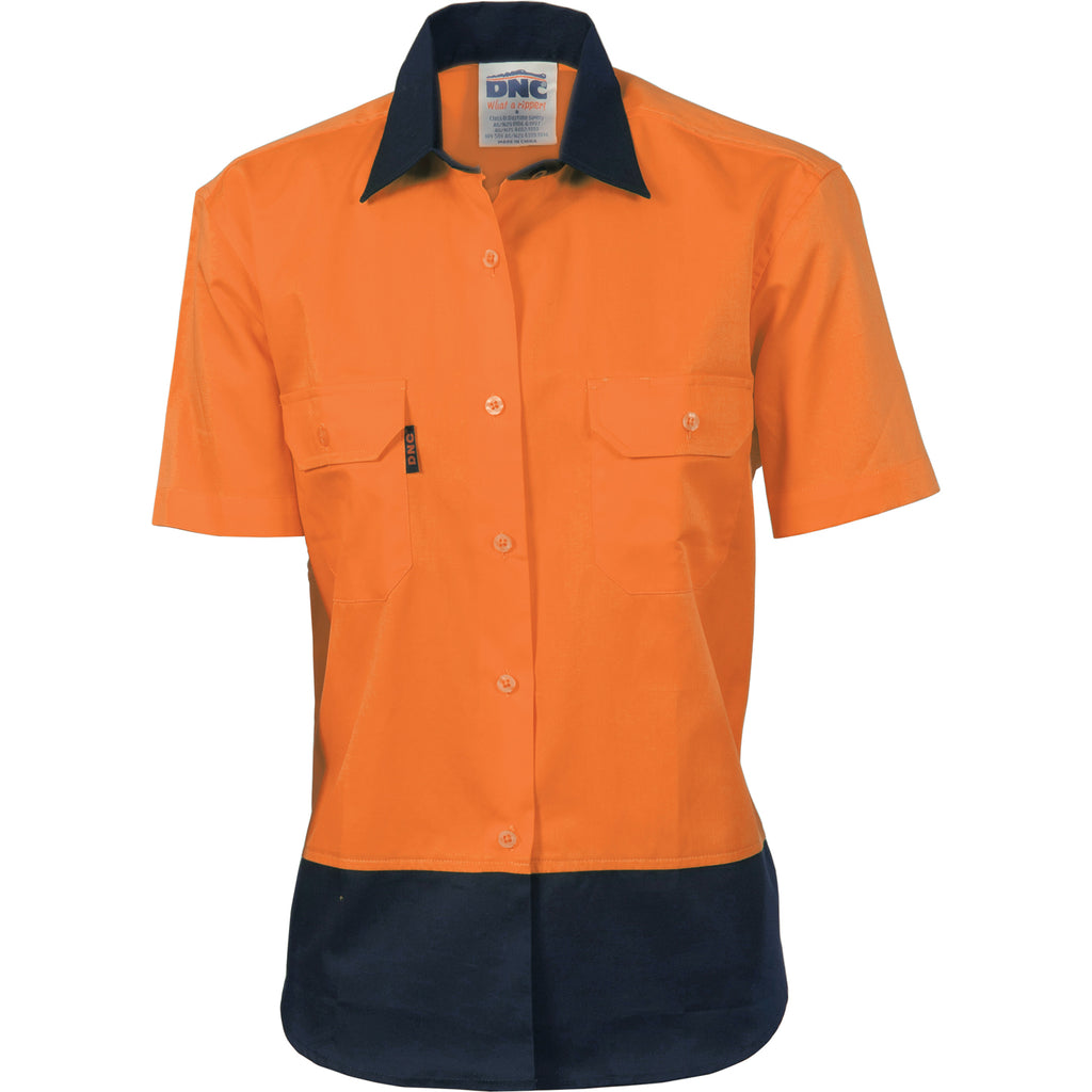 3931 - Ladies Hi Vis Two Tone Cotton Drill Shirt - Short Sleeve