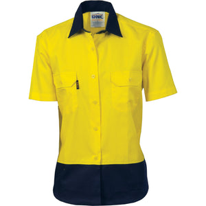 Ladies HiVis Two Tone Cotton Drill Shirt - Short Sleeve