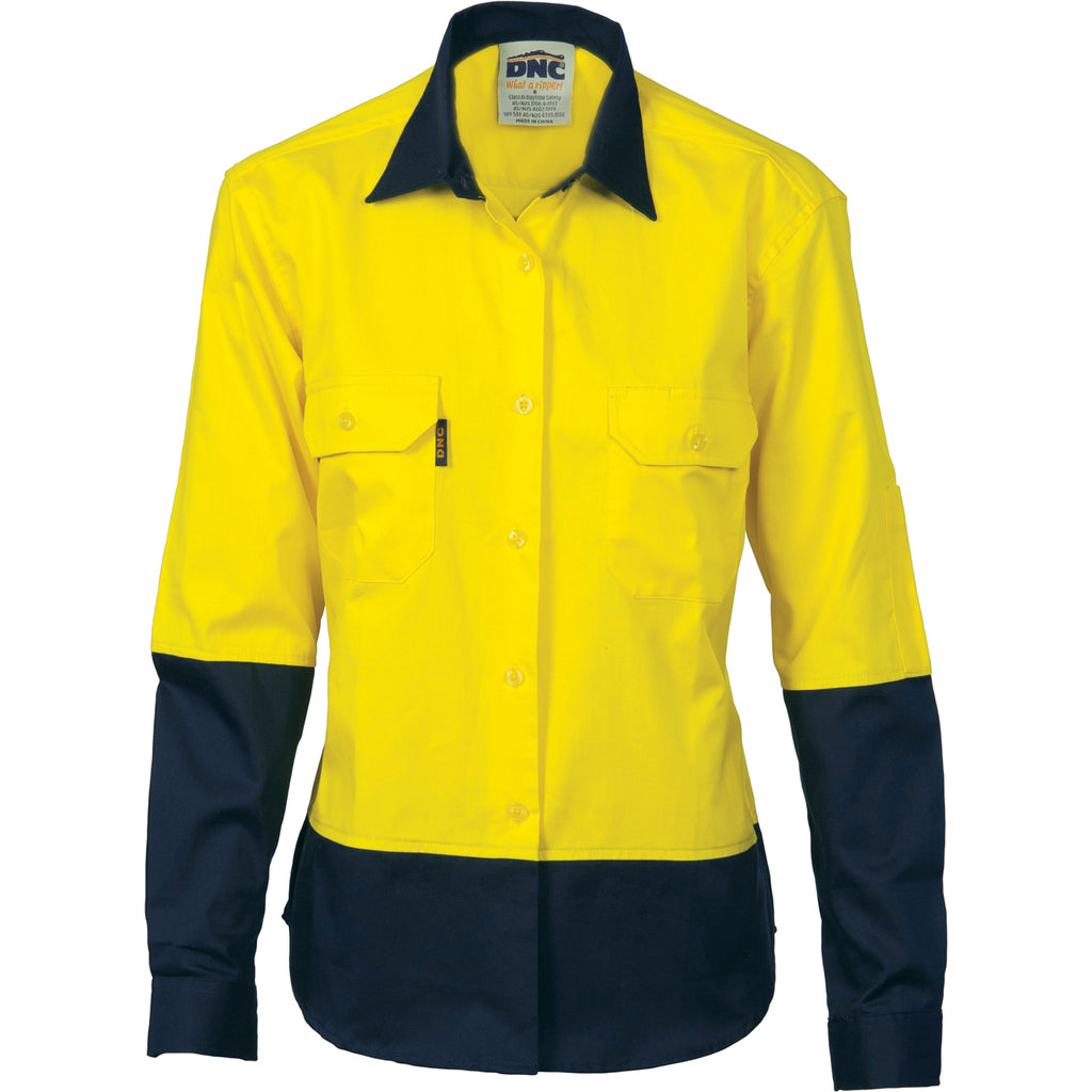 3932 - Ladies Hi Vis Two Tone Cotton Drill Shirt - Long Sleeve