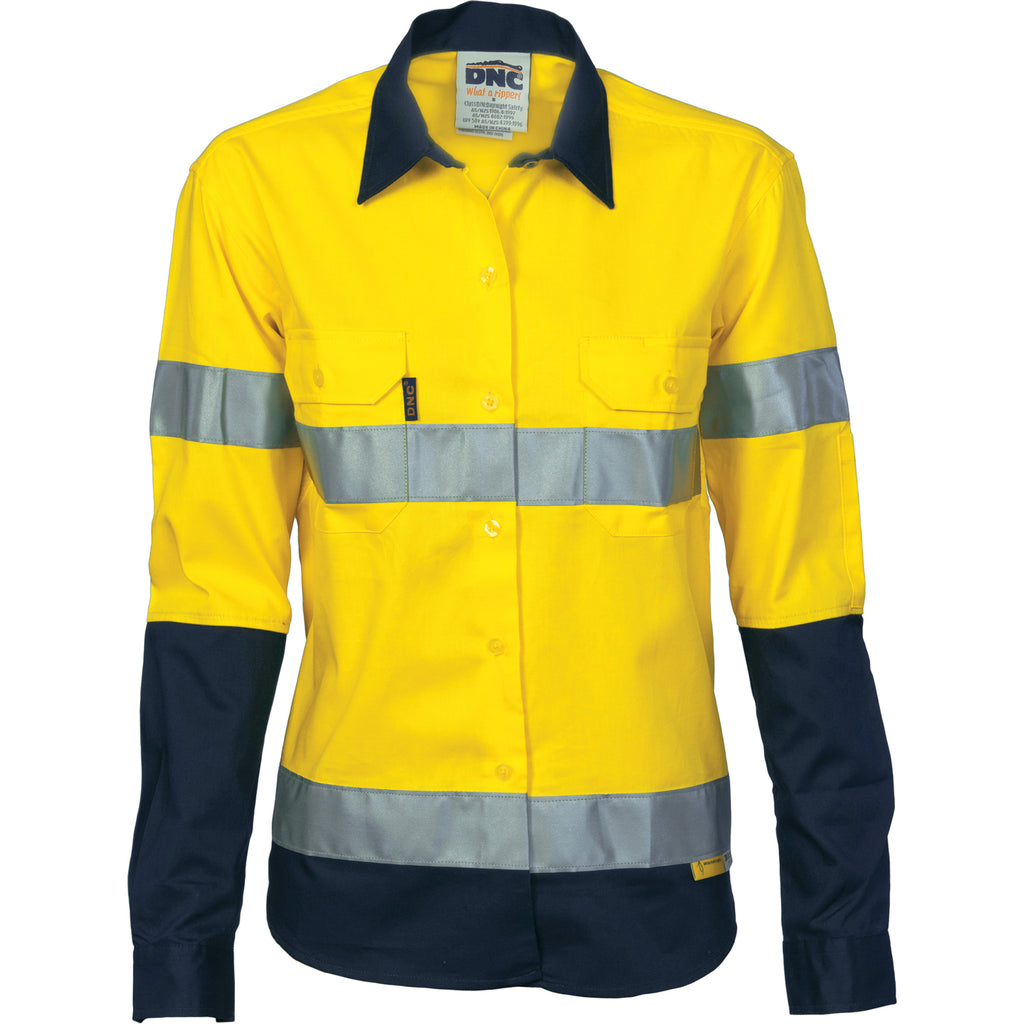 3936 - Ladies Hi Vis Two Tone Drill Shirt with 3M R/Tape - Long sleeve