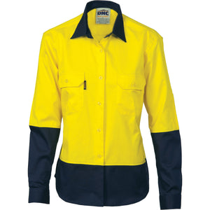 Ladies HiVis 2 Tone Cool-Breeze Cotton Shirt - Long Sleeve