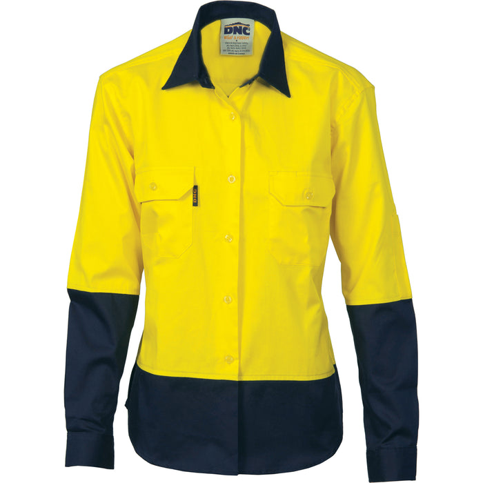 3940 - Ladies HiVis 2 Tone Cool-Breeze Cotton Shirt - Long Sleeve