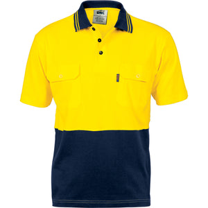 3943 - Hi Vis Cool-Breeze 2 Tone Cotton Jersey Polo Shirt with Twin Chest Pocket - S/S