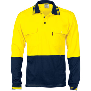 3944 - Hi Vis Cool-Breeze 2 Tone Cotton Jersey Polo Shirt with Twin Chest Pocket - L/S