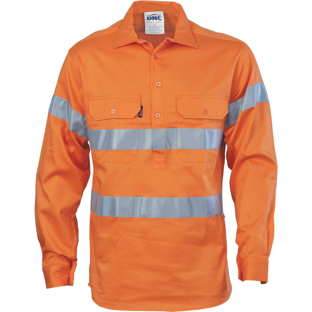 3945 - Hi Vis Cool-Breeze Close Front Cotton Shirt with Generic R/Tape