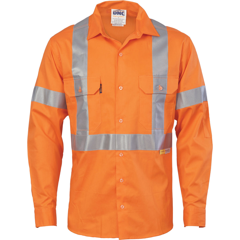 HiVis Cool-Breeze Cross Back Cotton Shirt with 3M R/Tape - long sleeve