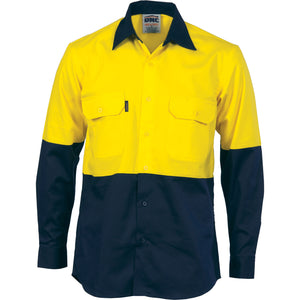 HiVis Two Tone Cotton Drill Vented Shirt - Long Sleeve