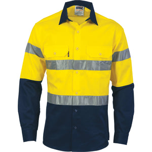 3982 - Hi Vis D/N 2 Tone Drill Shirt with Generic R/Tape - long sleeve