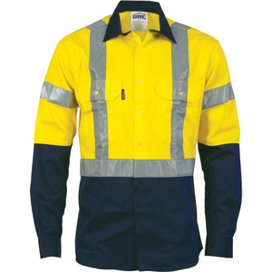 3983 - Hi Vis D/N 2 Tone Drill Shirt with H Pattern Generic R/ Tape - Long sleeve