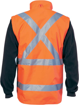"HiVis ""4 in 1"" Zip off Sleeve Revisable Vest, 'X' Back with additional tape on Tail"