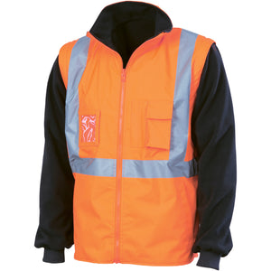 "3990 - Hi Vis ""4 in 1"" Zip off Sleeve Revisable Vest, 'X' Back with additional tape on Tail"