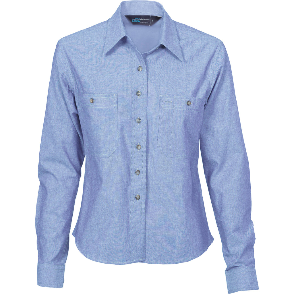 4106 - Ladies Cotton Chambray Shirt - Long Sleeve