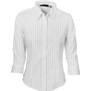 Ladies Stretch Yarn Dyed Contrast Stripe Shirts - 3/4 Sleeve