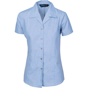 Ladies Revere Collar Mini (Check) Houndstooth B.Shirt - Short Sleeve