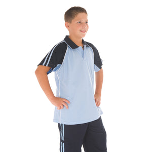 Kids Cool-Breathe Twin Stripe Contrast Raglan Polo