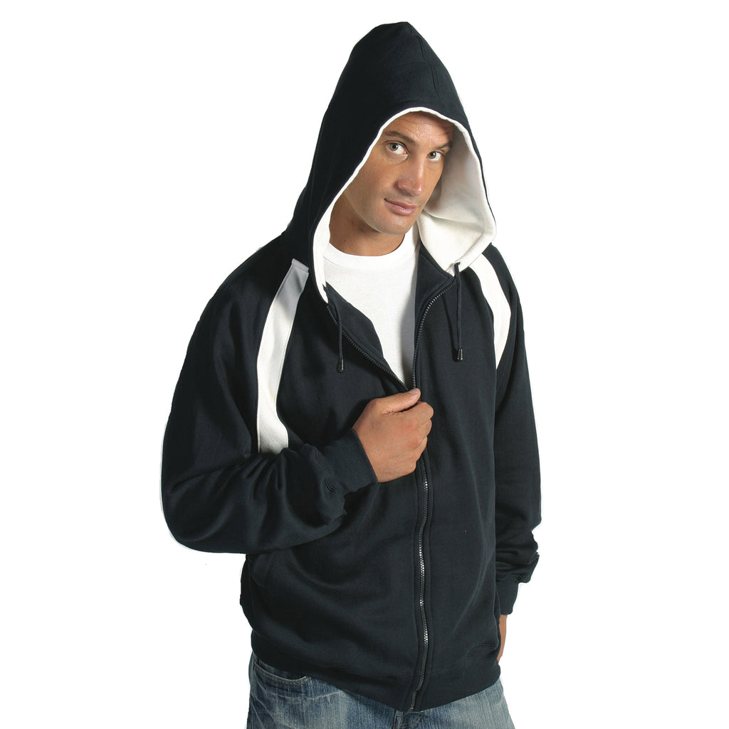 Mens Contrast Panel Fleecy Top with Hood