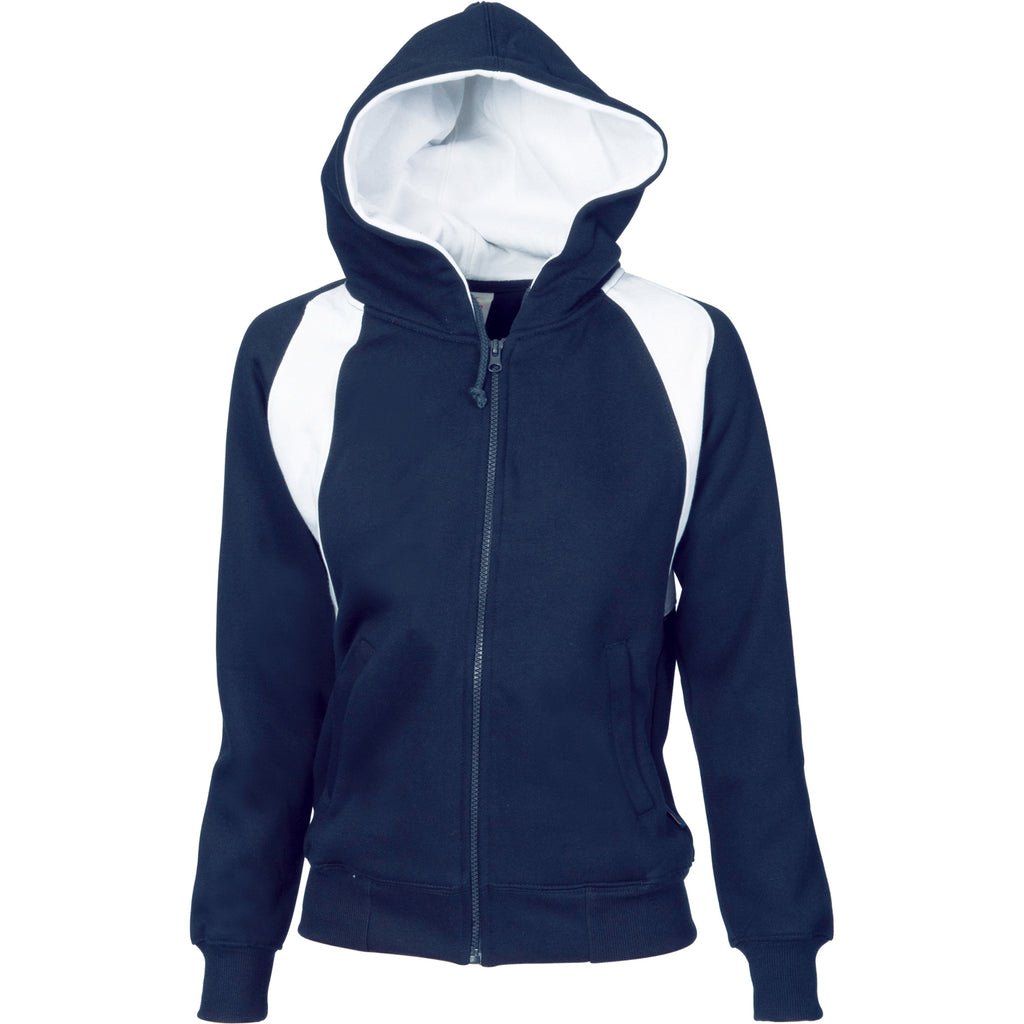 Ladies Contrast Panel Fleecy Top with Hood
