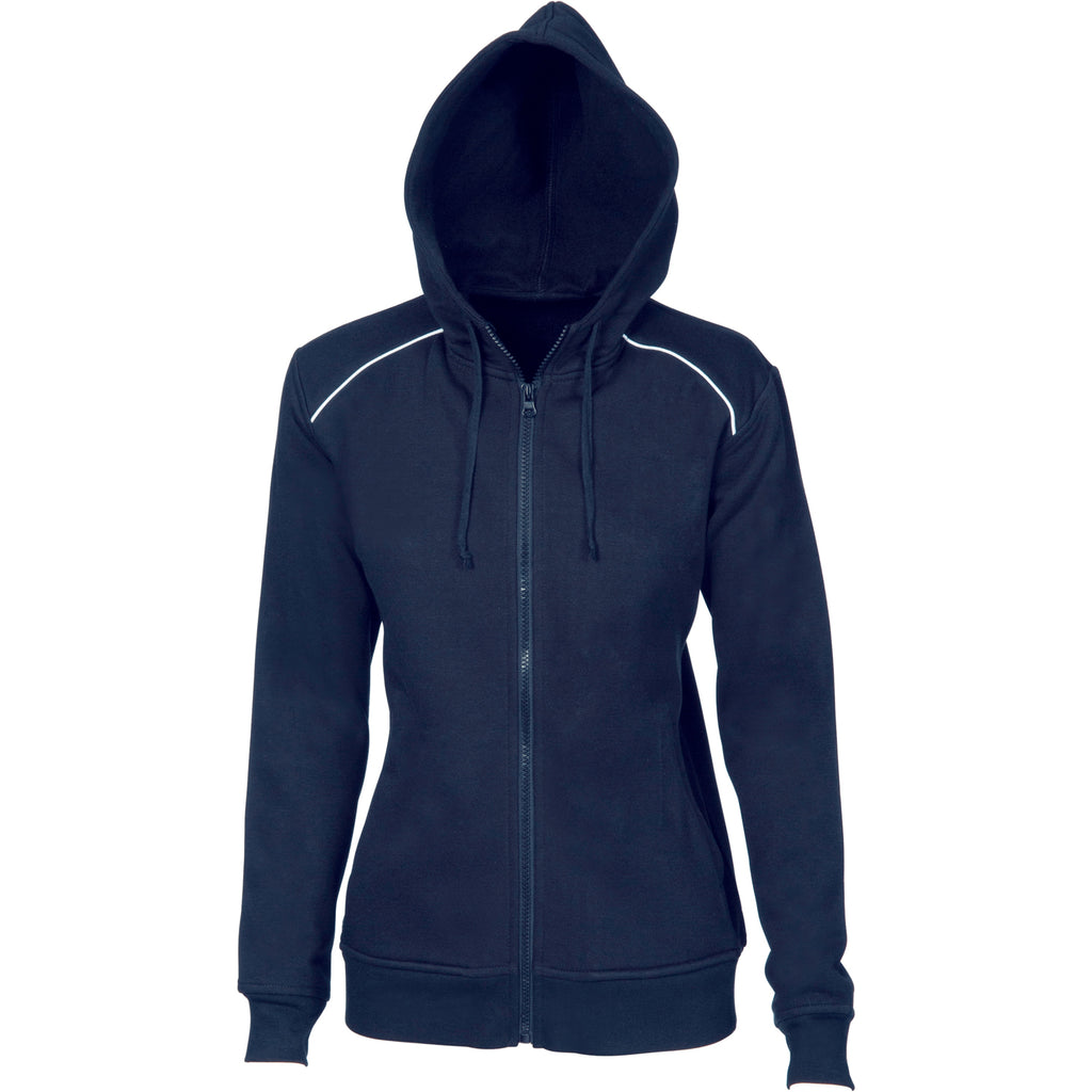 Ladies Contast Piping Fleecy Hoodie