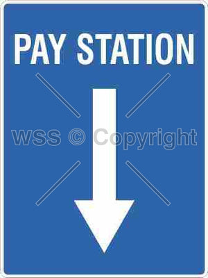 Pay Station + Downwards Arrow Sign
