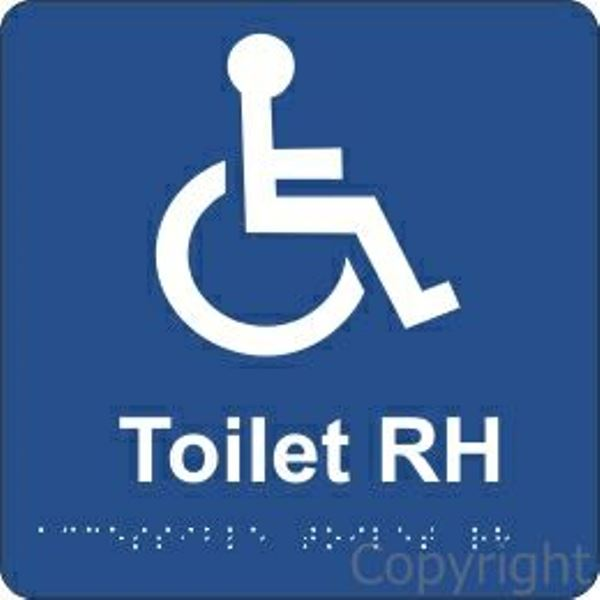 Braille Disabled Toilet Right Handed Sign