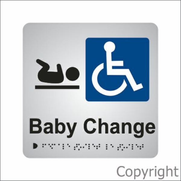 Braille Disabled Toilet/Baby Change Aluminium Sign
