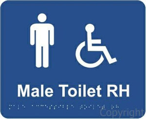 Braille Male Access Toilet Right Handed Sign