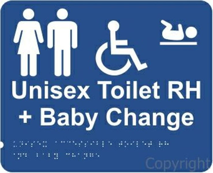 Braille Unisex Disabled Change Room Right Handed Sign
