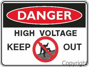 Danger High Voltage Keep Out Sign W/ Picture