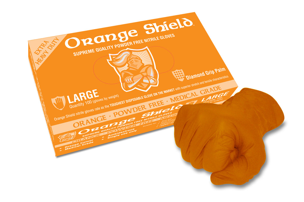 Orange Shield Extra Heavy Duty Nitrile Gloves