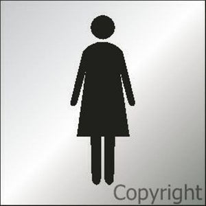 Women Toilet Sign Picture - Reversed Perspex 150mm Sqr