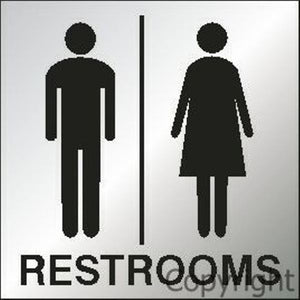 Restrooms Sign With Picture - Reversed Perspex
