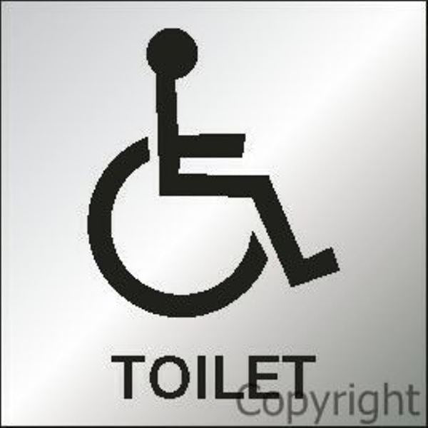 Toilet Sign With Disabled Picture - Reversed Perspex 150 Sqr