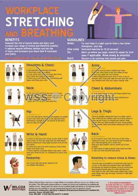 Workplace Stretching And Breathing Sign