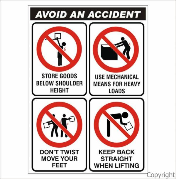 Avoid An Accident Sign W/ Picture
