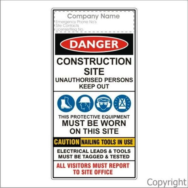 Construction Site Multiple Signs 2