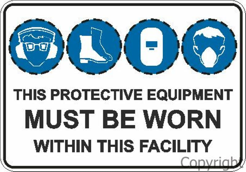 This Protective Equipment etc. Facility Sign W/ 4 Discs