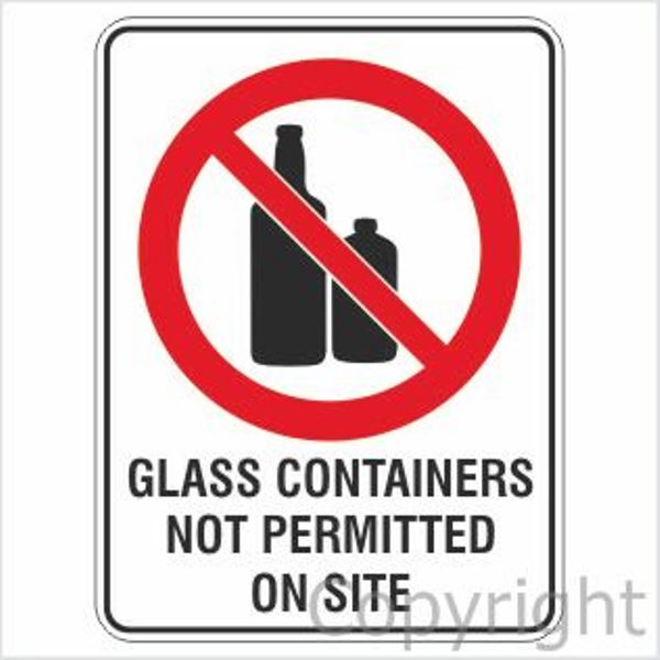 Glass Containers Not Permitted On Site Sign W/ Picture