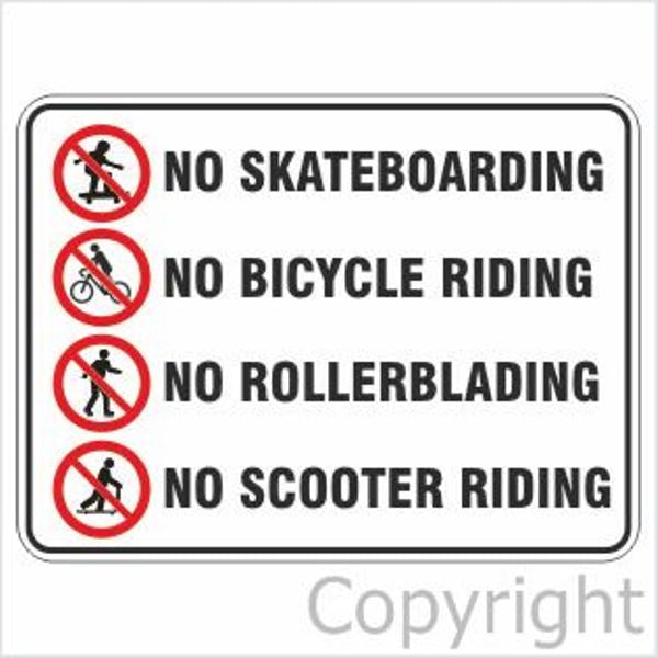 No Skateboards/Bicycle/Rollerblading/Scooter Sign W/ Picture