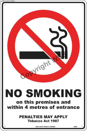No Smoking Within 4 Metres etc. Sign W/ Picture